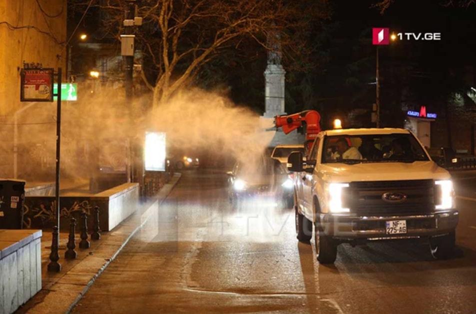 El Gobierno de Georgia activa protocolo de limpiar y desinfectar las calles de Tbilisi por la noche para evitar la propagación masiva del COVID-19.
