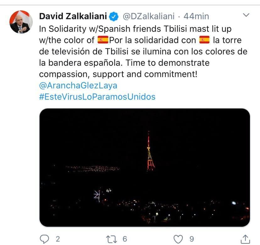 Tweet del Sr. David Zalkalian con un bonito gesto hacia España por la crisis del coronavirus.