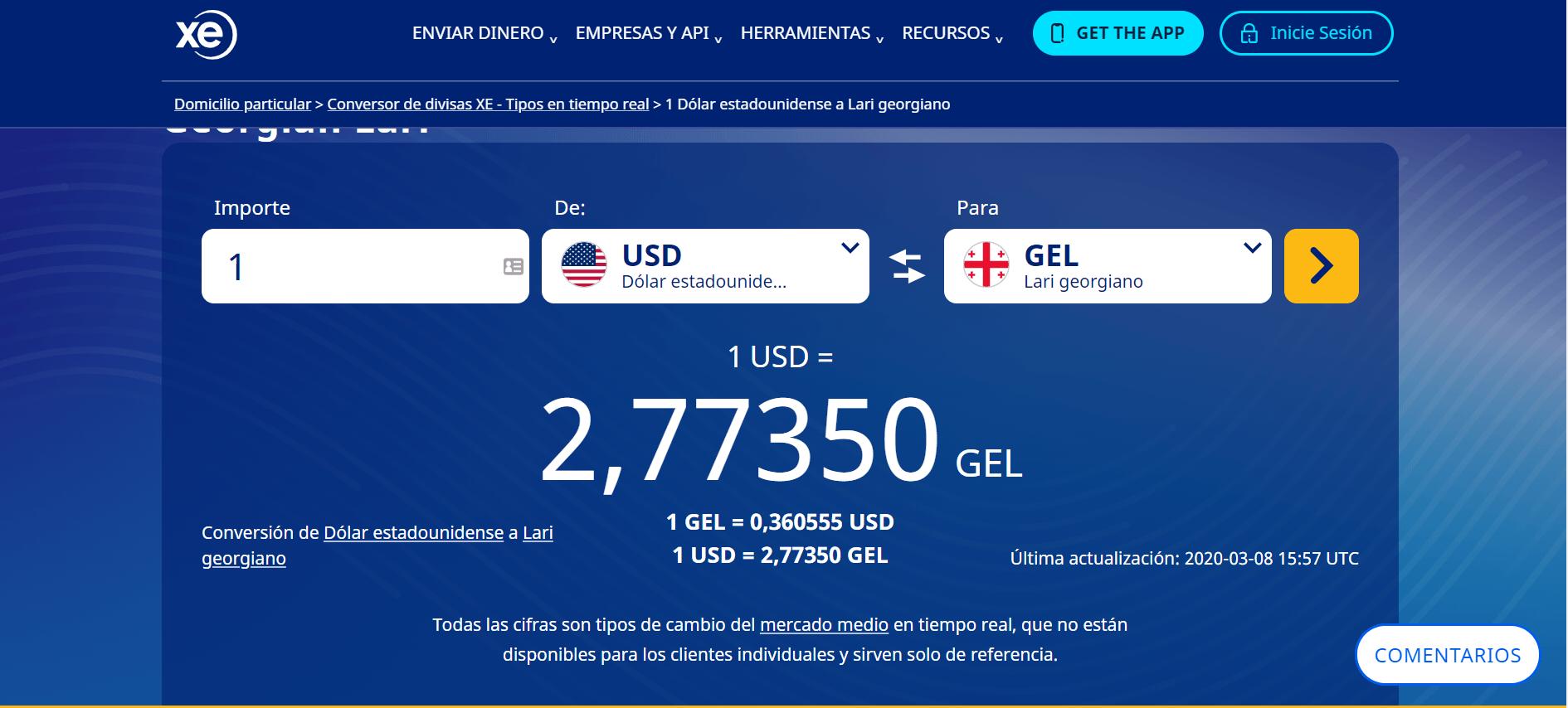 Conversor de divisa: dólar a lari