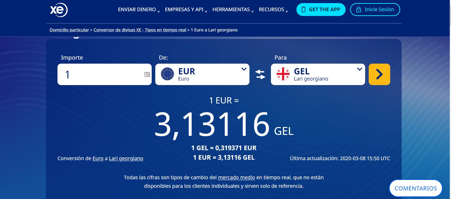 Conversor de Divisa: Euro a Lari