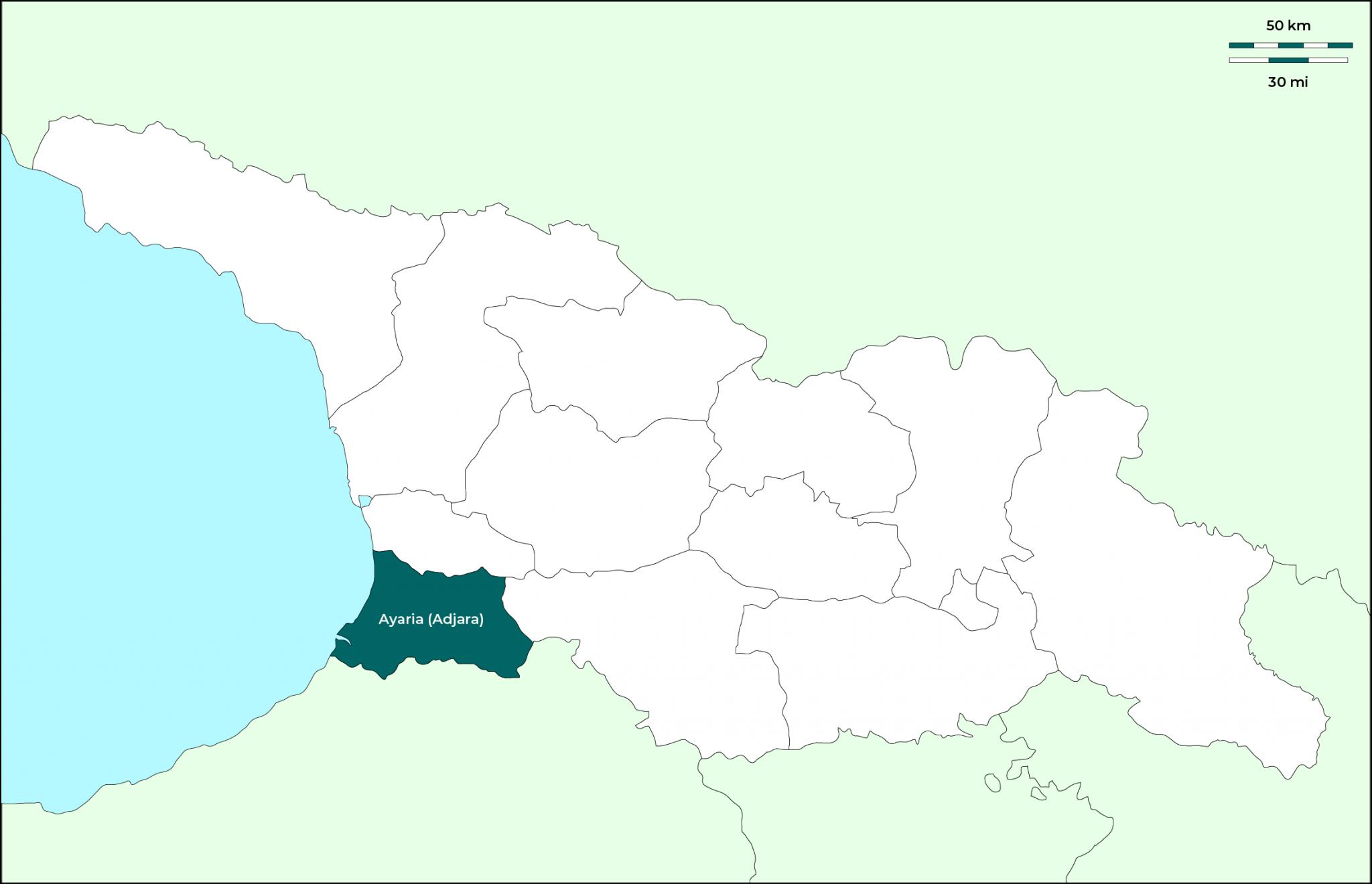 Región de Ayaria (Adjara): Mapa