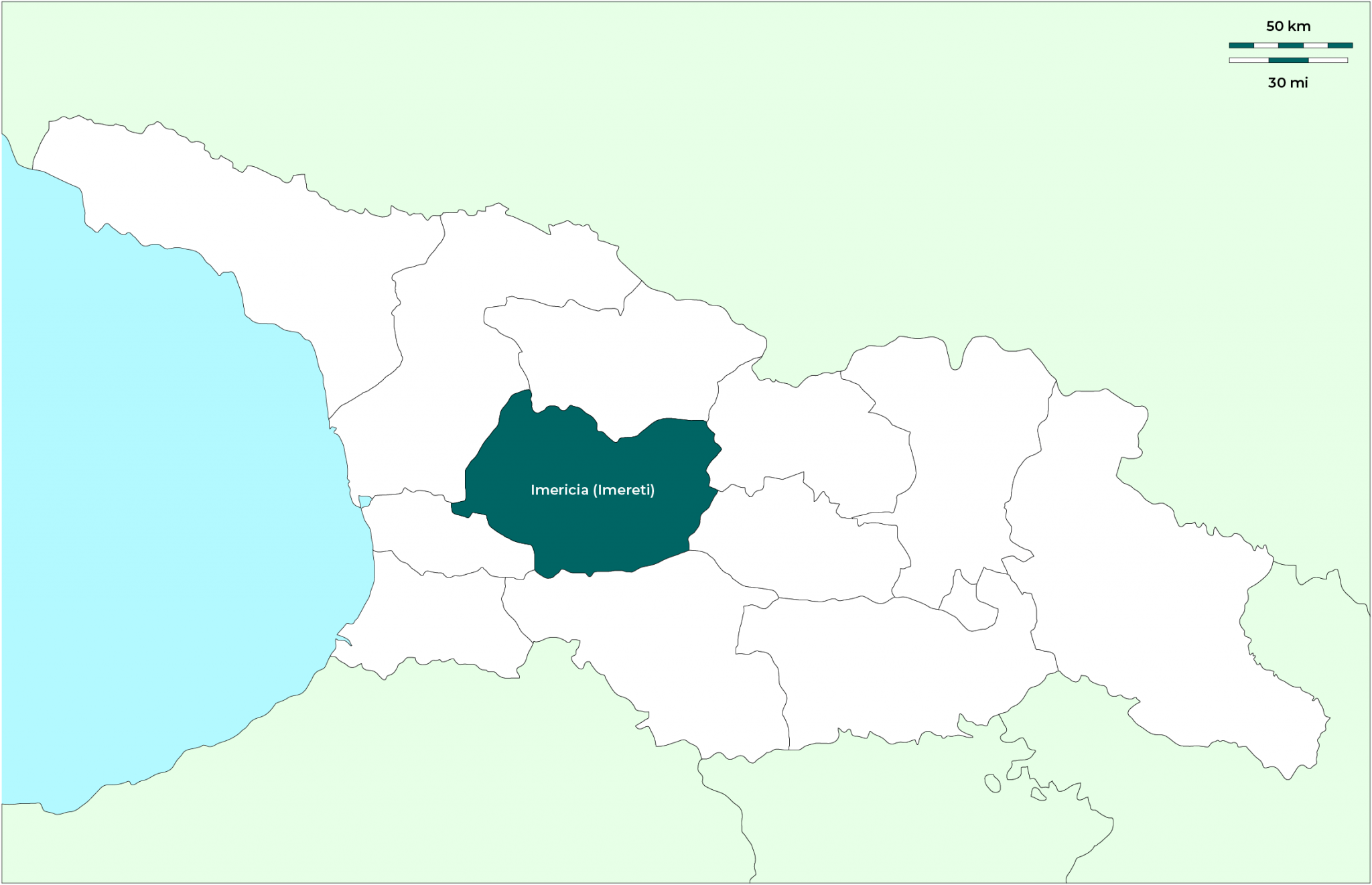 Región de Imericia (Imereti): Mapa