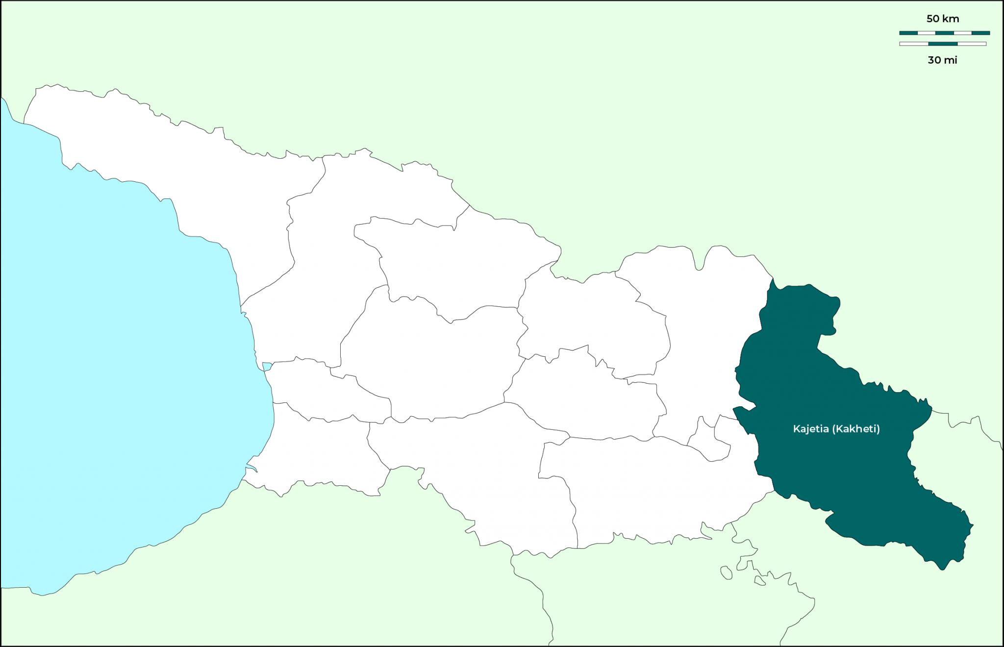 Región de Kajetia (Kakheti): Mapa