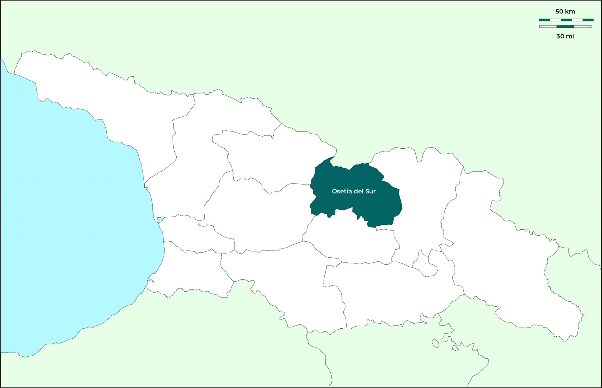 Región de Osetia del Sur: Mapa