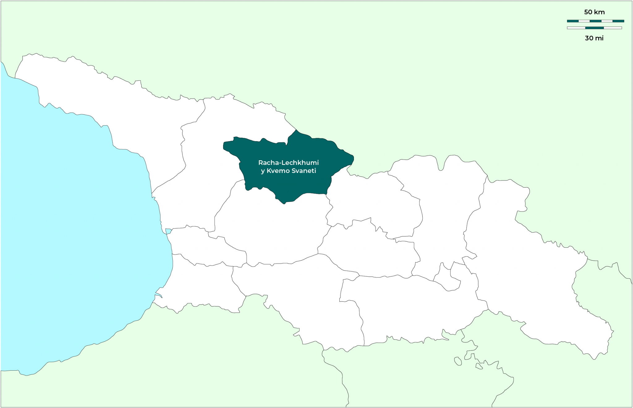 Región de Racha-Lechkhumi y Kvemo Svaneti: Mapa