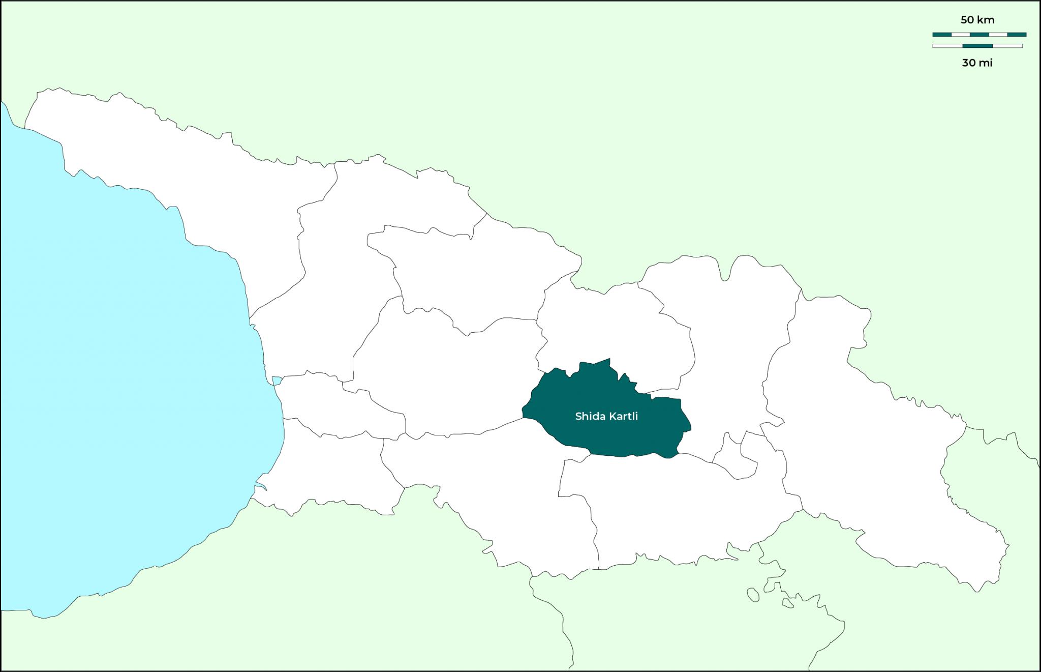 Región de Shida Kartli: Mapa